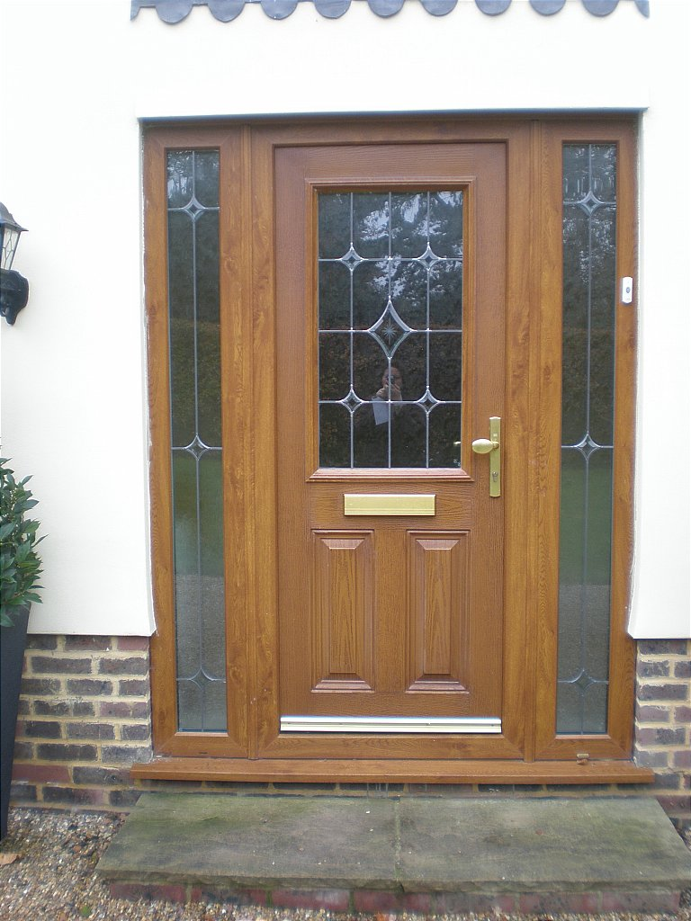 Wood grain effect upvc door with side lights for Wood effect upvc french doors