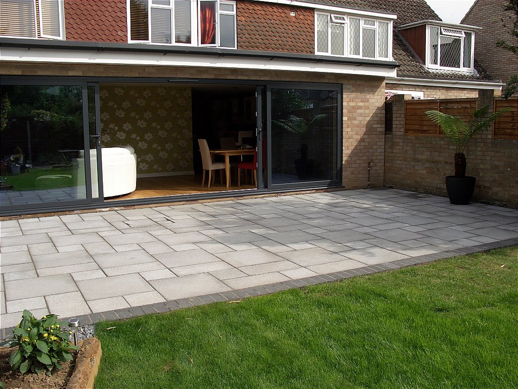 Large Grey Patio Door Open